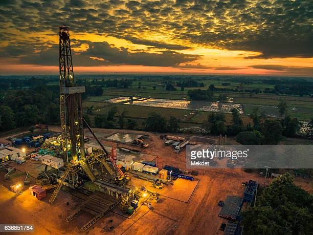 The Aerial view of Thailand Countryside with the Oil Drilling Rig