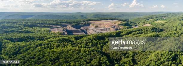 The aerial view to the open-cast mine in Lehigh Valley, Carbon County, Pennsylvania, USA. XXXL stitched panorama