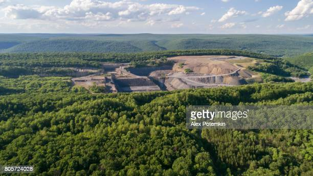 The aerial view to the open-cast mine in Lehigh Valley, Carbon County, Pennsylvania, USA.