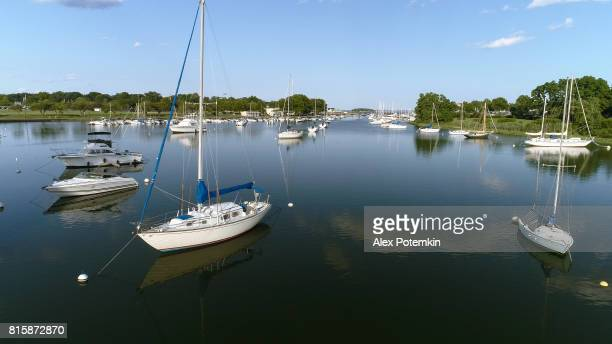 The aerial view to the yachts in the Marina in Mamaroneck, Westchester, New York, USA.