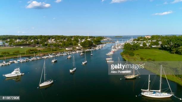 the aerial view to the yachts in the marina in mamaroneck, westchester, new york, usa. - westchester county stock pictures, royalty-free photos & images