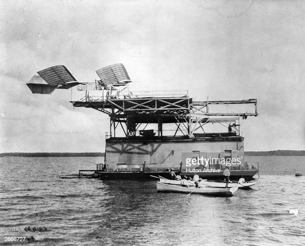 The 'Aerodrome', designed by Samuel Langley, ready to be catapulted from a house boat on the Potomac river.