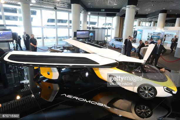 The Aeromobil a flying supercar is on display as part of the 'Top Marques' show dedicated to exclusive luxury goods on April 20 2017 in Monaco / AFP...