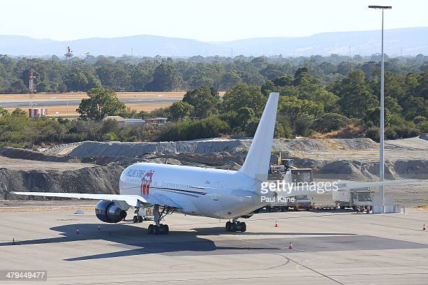 The Aeronexus Corporation Boeing 767 used by the Rolling Stones is seen parked on the tarmac at Perth international airport on March 19 2014 in Perth...