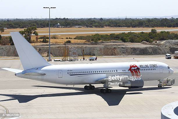 The Aeronexus Corporation's Boeing 767 used by the Rolling Stones is relocated for refueling in readiness for takeoff at Perth international airport...