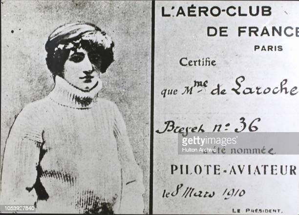 The aeroplane pilot's licence of French aviator Madame Raymonde de Laroche the first woman to receive the document issued by the AéroClub De France...