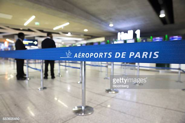 The Aeroports de Paris logo sits on a cordon in a terminal building at Charles de Gaulle airport in Roissy France on Thursday May 19 2016 Egypt...