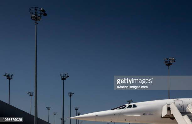 The AerospatialeBAC Concorde supersonic civil jet airplane of Air France seen at the Airbus facility in Tolouse France