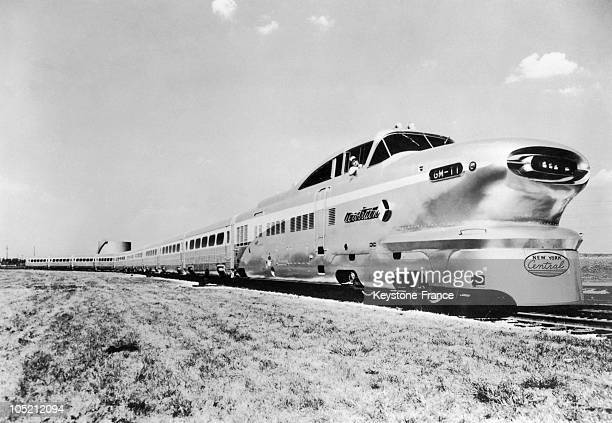 The Aerotrain Of General Motors Prodeeds Speed Tests Between The Cities Of Detroit And Chicago On January 18 1956