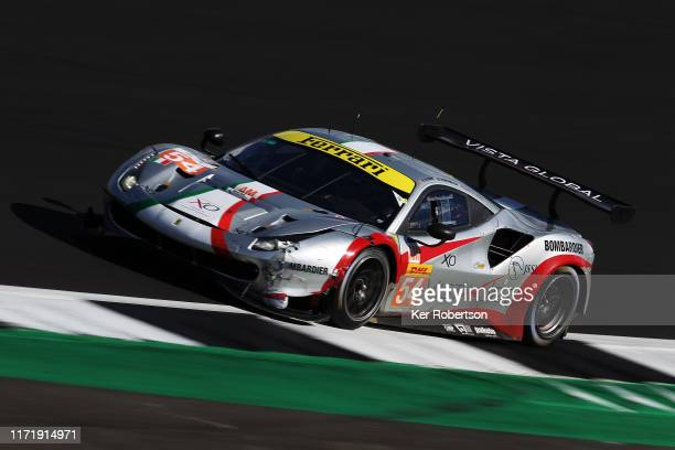 The AF Corse 488 GTE of Thomas Flohr, Francesco Castellacci and Giancarlo Fishichella drives during the FIA World Endurance Championship race at...