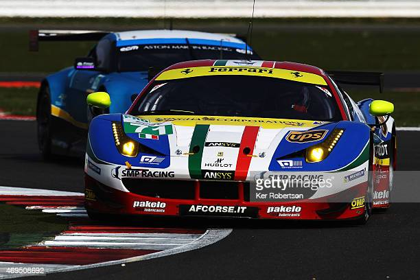 The AF Corse Ferrari 458 Italia of James Calado and Davide Rigon drives during practice for the FIA World Endurance Championship 6 Hours of...
