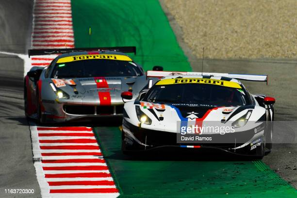 The AF Corse Ferrari 488 GTE EVO of Francoise Perrodo of France Emmanuel Collard of France and Nicklas Nielsen of Denmark in action in front of The...