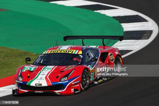 The AF Corse Ferrari 488 GTE EVO of James Calado and Alessandro Pier Guidi in action during the World Endurance Championship on August 30 2019 in...