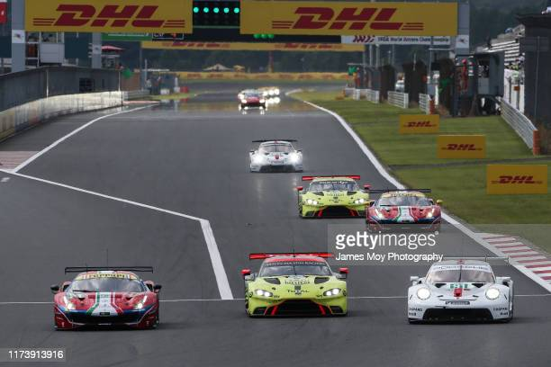The AF Corse Ferrari 488 GTE EVO of James Calado and Alessandro Pier Guidi the Aston Martin Racing Vantage AMR of Nicki Thiim and Marco Sorensen and...