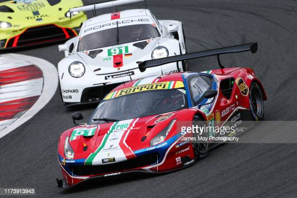 The AF Corse Ferrari 488 GTE EVO of James Calado and Alessandro Pier Guidi in action on October 6 2019 at the World Endurance Chapionship at Fuji...
