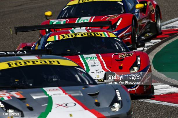 The AF Corse Ferrari 488 GTE EVO of James Calado and Alessandro Pier Guidi in action on qualifying day at the World Endurance Championship at...