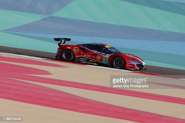 The AF Corse Ferrari 488 GTE EVO of James Calado and Alessandro Pier Guidi during practice for the fourth round of the World Endurance Championship...