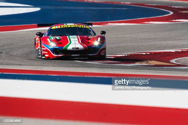 The AF Corse Ferrari 488 GTE EVO of James Calado and Alessandro Pier Guidi in action during WEC practice at Circuit of The Americas on February 22...