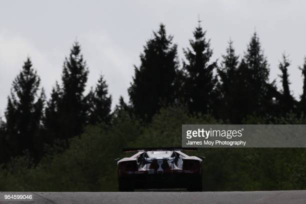 The AF Corse Ferrari 488 GTE EVO of James Calado and Alessandro Pier Guidi drives during practice for the WEC 6 Hours Of SpaFrancorchamps the opening...