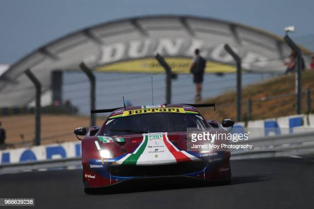 The AF Corse Ferrari 488 GTE EVO of James Calado and Alessandro Pier Guidi drives during the Le Mans 24 Hours Test Day on June 3 2018 in Le Mans...