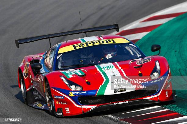 The AF Corse Ferrari 488 GTE EVO of James Calado of Great Britain and Alessandro Pier Guidi of Italy in action in action during the second session of...