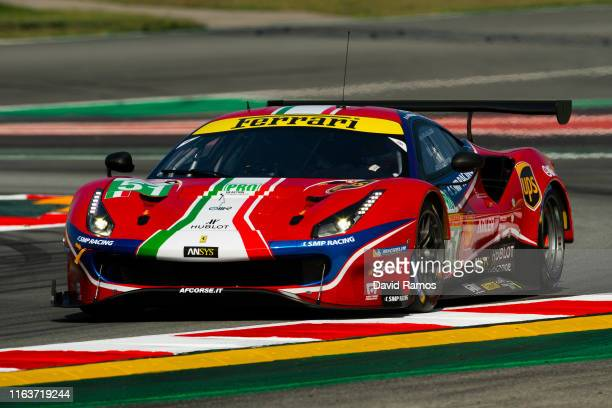 The AF Corse Ferrari 488 GTE EVO of James Calado of Great Britain and Alessandro Pier Guidi of Italy in action during the first session of the FIA...