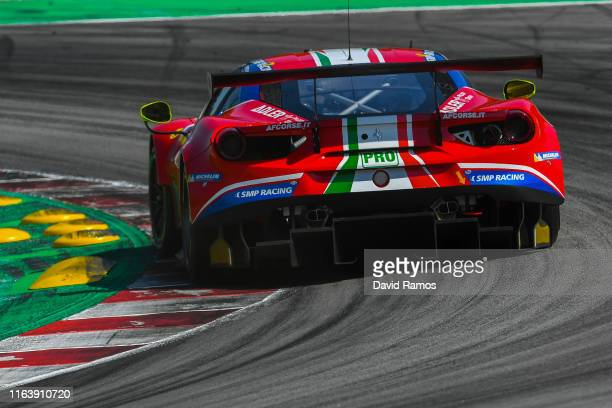 The AF Corse Ferrari 488 GTE EVO of James Calado of Great Britain and Alessandro Pier Guidi of Italy in action during the second session of the FIA...