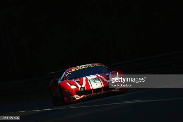 The AF Corse Ferrari 488 GTE EVO of Toni Vilander Antonio Giovinazzi and Pipo Derani drives during practice for the Le Mans 24 Hour race at the...