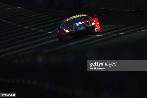 The AF Corse Ferrari 488 GTE EVO of Toni Vilander Antonio Giovinazzi and Pipo Derani drives during morning warm up prior to the Le Mans 24 Hour race...