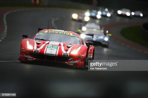 The AF Corse Ferrari 488 GTE EVO of Toni Vilander Antonio Giovinazzi and Pipo Derani drives during the Le Mans 24 Hour race at the Circuit de la...