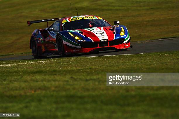 The AF Corse Ferrari 488 GTE of Gianmaria Bruni and James Calado drives during the FIA World Endurance Championship Six Hours of Silverstone race at...
