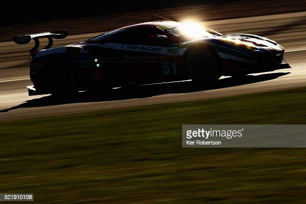 The AF Corse Ferrari 488 of Gianmaria Bruni and James Calado drives during the FIA World Endurance Championship Six Hours of Silverstone race at the...