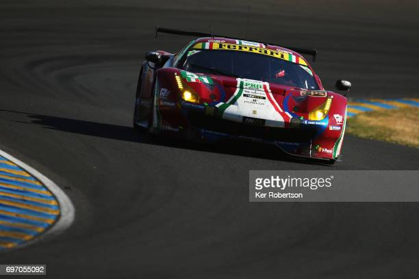 The AF Corse Ferrari 488 of James Calado Michel Rugolo and Alessandro Pier Guidi drives during the Le Mans 24 Hours race at the Circuit de la Sarthe...