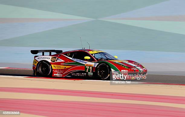The AF Corse Ferrari F458 Italia driven by Davide Rigon of Italy and James Calado of Great Britain during practice for the FIA World Endurance...