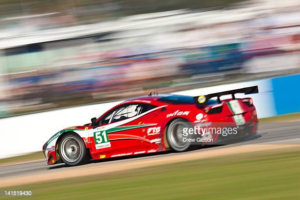 The AF Corse Ferrari F458 Italia driven by Giancarlo Fisichella of Italy Gianmaria Bruni of Italy and Toni Vilander of Finland during the 2012 World...