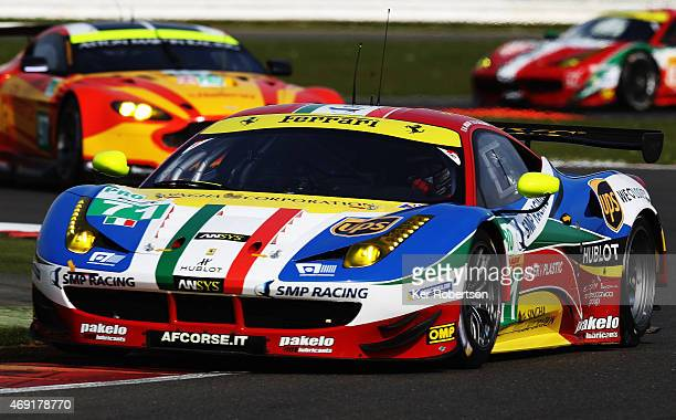 The AF Corse Ferrari F458 Italia of James Calado and Davide Rigon drives during practice for the FIA World Endurance Championship 6 Hours of...
