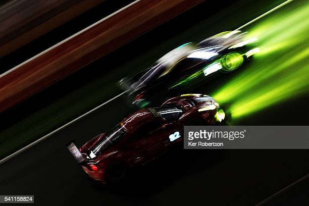 The AF Corse Ferrari Italia 458 of Duncan Cameron Matthew Griffin and Aaron Scott and the Risi Competizione Ferrari 488 of Giancarlo Fisichella...