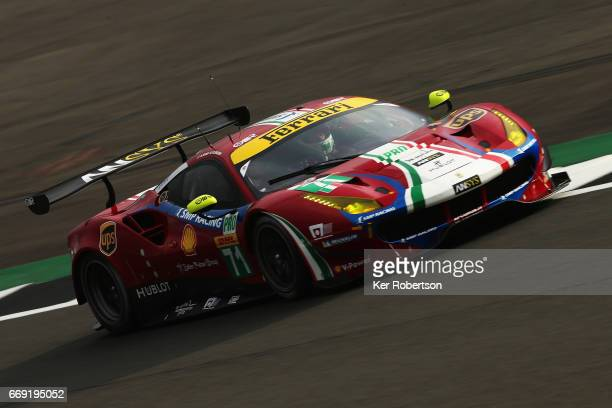 The AF Corse Ferrari of James Calado and Alessandro Pier Guidi drives during practice for the FIA World Endurance Championship at Silverstone on...