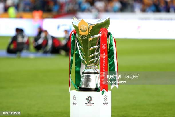The AFC Asian Cup trophy is pictured during the 2019 AFC Asian Cup final football match between Japan and Qatar at the Zayed Sports City Stadium in...