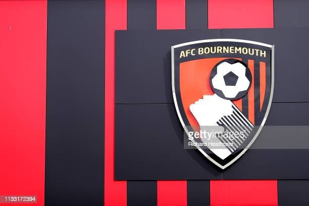 The AFC Bournemouth logo is seen on the stadium prior to the Premier League match between AFC Bournemouth and Manchester City at Vitality Stadium on...