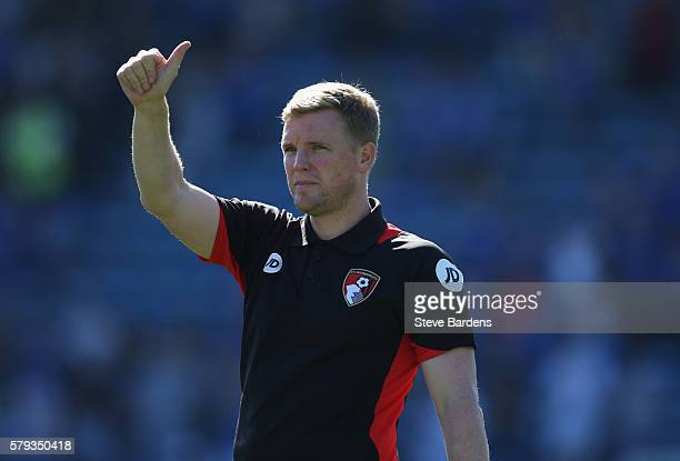 The AFC Bournemouth manager Eddie Howe thanks the supporters after a PreSeason Friendly match between Portsmouth FC and AFC Bournemouth at Fratton...
