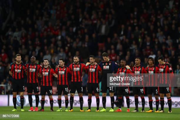 The AFC Bournemouth team take part in minute of silence for remembrance day prior to the Premier League match between AFC Bournemouth and Chelsea at...