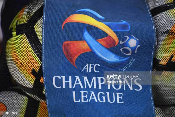 The AFC Champions League logo is seen on the ball bag prior to the AFC Champions League Group H match between Kashima Antlers and Shanghai Shenhua at...