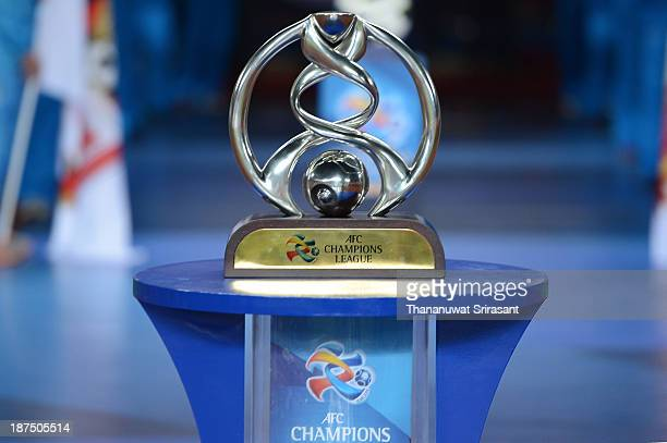 The AFC Champions League Trophy is displayed during the AFC Champions League Final 2nd leg match between Guangzhou Evergrande and FC Seoul at...