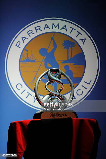 The AFC Champions League Trophy is pictured during the celebration for Western Sydney Wanderers AFC champions league success at Parramatta Centenary...