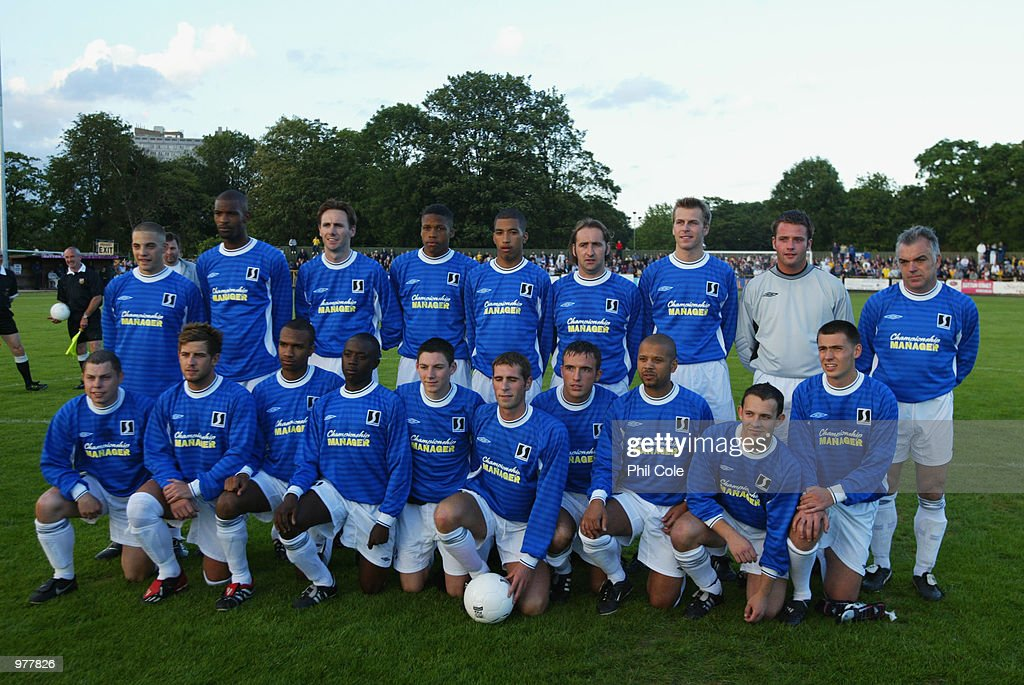 The AFC Wimbledon team line up for the first time prior to a friendly match between Sutton United and AFC Wimbledon at Gander Green Lane, Sutton, London on July 10, 2002. The match against Sutton United was the first ever match for the newly formed AFC Wimbledon who were started by disgruntled fans of Wimbledon.
