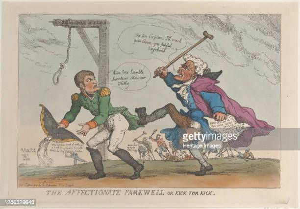 The Affectionate Farewell, or Kick for Kick, April 17, 1814. Artist Thomas Rowlandson.