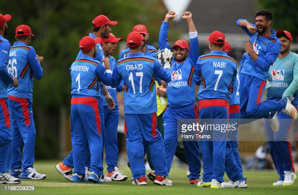 The Afghanistan side celebrate the wicket of Jahid of Bangladesh during the Physical Disability World Series match between Afghanistan and Bangladesh...