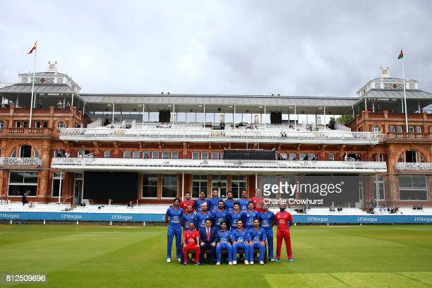 The Afghanistan squad pose for photo in front of the pavilion during the MCC v Afghanistan cricket match at Lord's Cricket Ground on July 11 2017 in...
