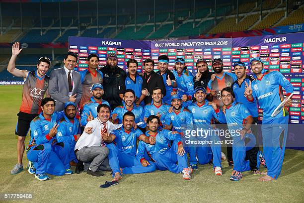 The Afghanistan team celebrate their victory during the ICC World Twenty20 India 2016 Group 1 match between Afghanistan and West Indies at the...